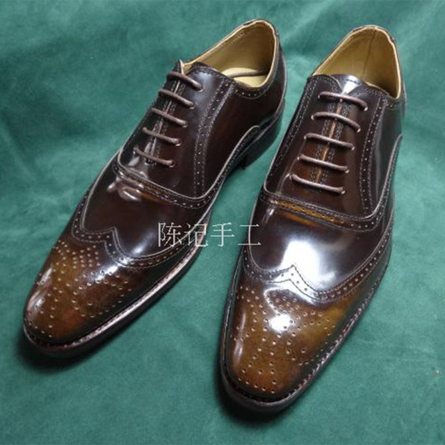a9a0e7eac30 Sipriks Mens Genuine Leather Brown Carved Brogue Oxfords Square Toe Wingtip  Dress Shoes Boss Business Work Party Social Elevator