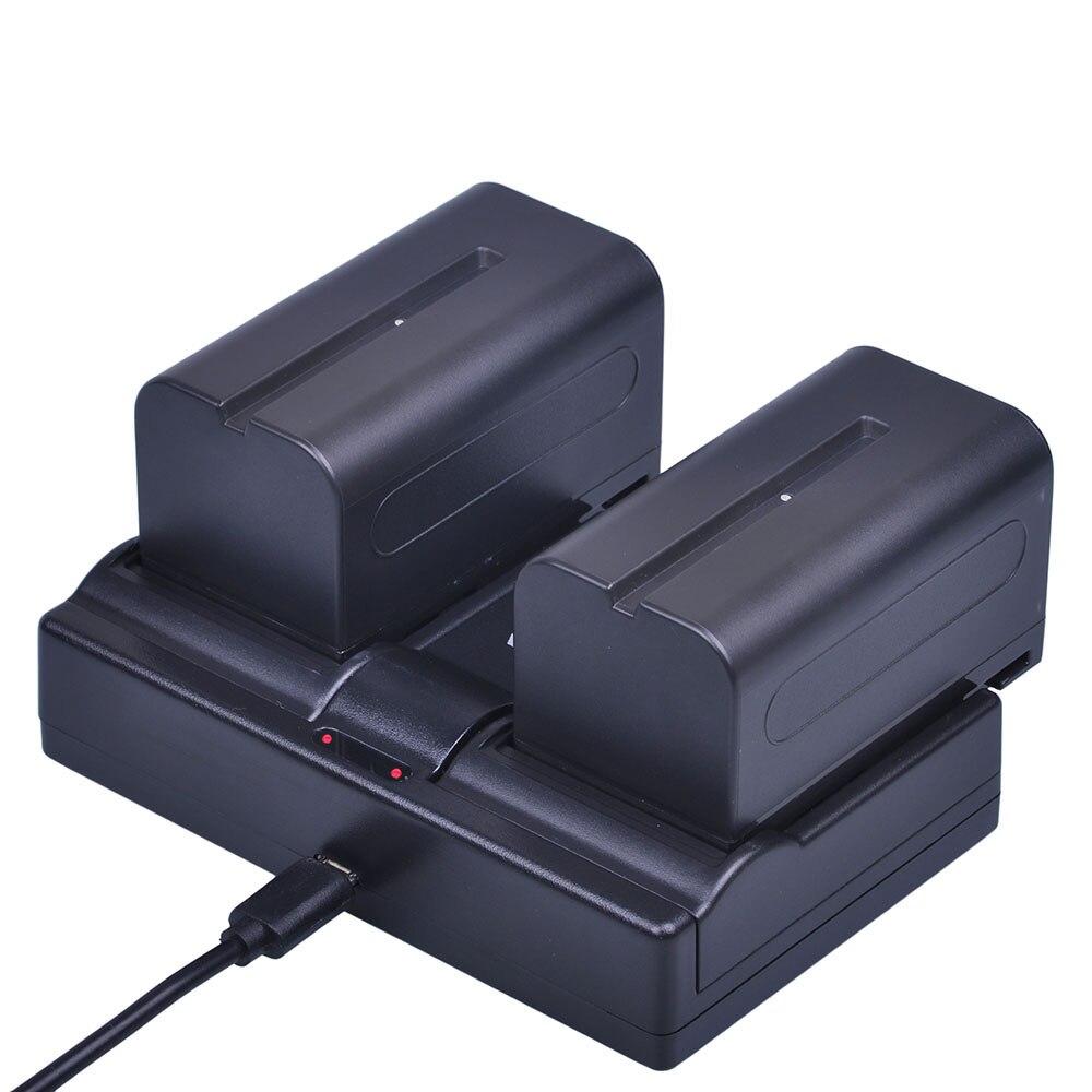 Batmax 2 шт. 7,2 В 5200 мАч NP-F770 NP-F750 NP F770 NP F750 NPF770 750 батареи + Dual USB Зарядное устройство для Sony CCD-RV100 dcr-tru47e