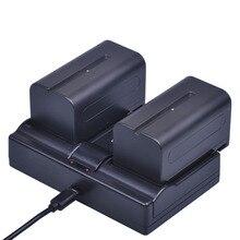 Batmax 2 adet 7.2V 5200mAh NP F770 NP F750 NP F770 NP F750 NPF770 750 piller + çift usb şarj için Sony CCD RV100 DCR TRU47E