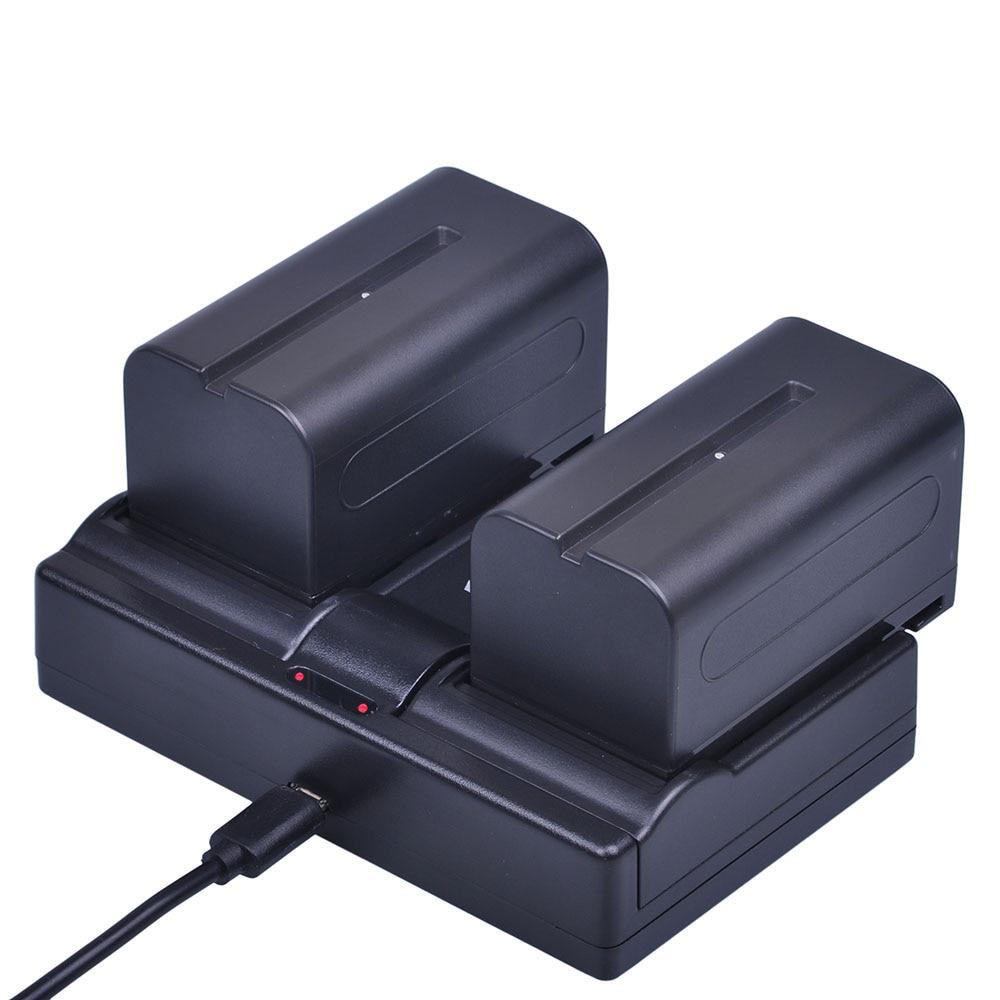 Batmax 2 pcs 7.2 v 5200 mah NP-F770 NP-F750 NP F770 NP F750 NPF770 750 Batteries + Chargeur Double USB pour Sony CCD-RV100 DCR-TRU47E