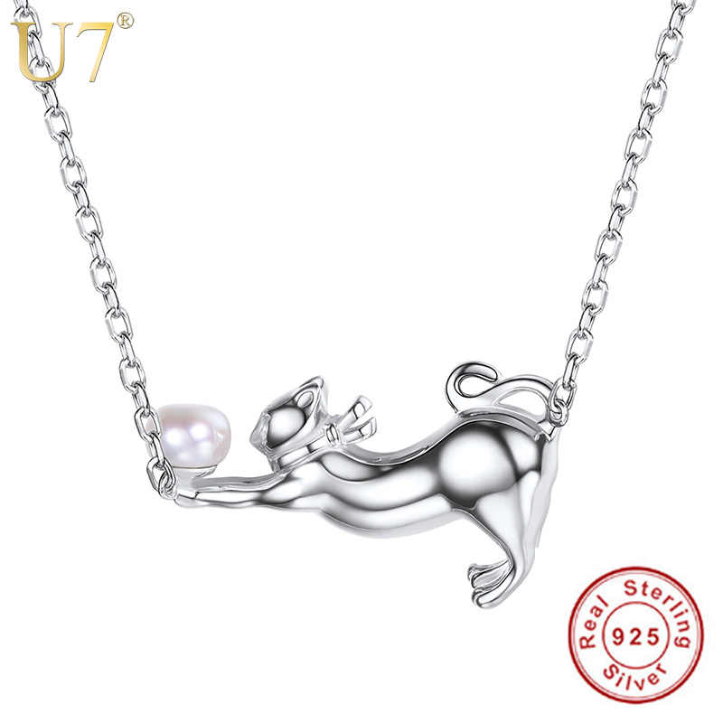U7 Authentic 100% 925 Sterling Silver Cat Charm Pendant Necklace Cute Animal Freshwater Pearl Silver Jewelry Gift for Women SC18
