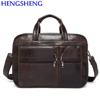 Free Shipping fashion genuine leather computer bags with quality cow leather unisex computer bags for leather shoulder bags