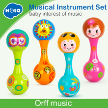 Купить с кэшбэком HOLA 3102A Baby Toys Dolls Musical Instruments Wood Rattles Toys For Babies Child Baby Shaker Toy For Children Gift Toys Shaker