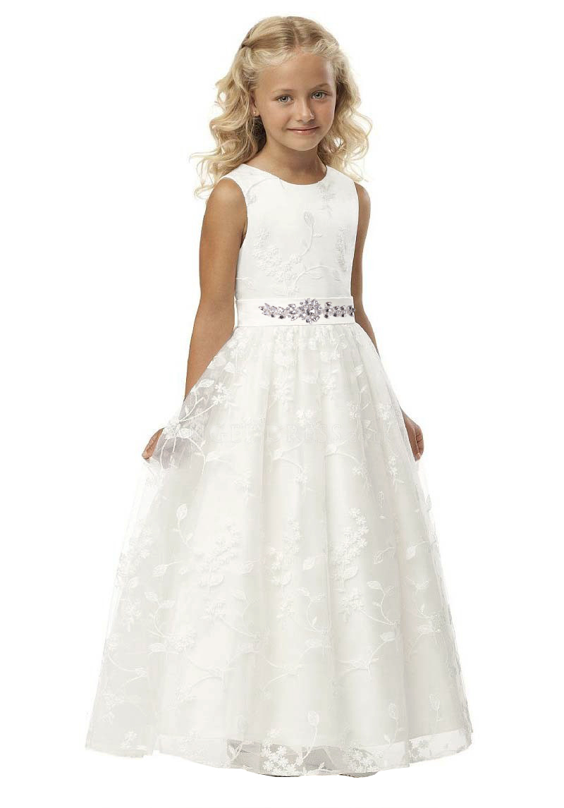 New Arrival Lace Long First Communion Gowns Beaded Belt   Flower     Girl     Dresses   In Stock