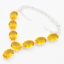 Luckyshine Florid Oval Fire Yellow Crystal Silver Plated Wedding Chain Necklaces Russia USA Canada Pendants Necklaces(China)