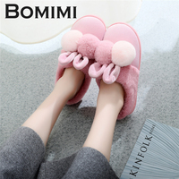 BOMIMI Women Cotton Sheep Lovers Home   Slippers   Cute Cartoon Ears   Slippers   Winter Warm Plush   Slipper   Shoes Indoor Shoes