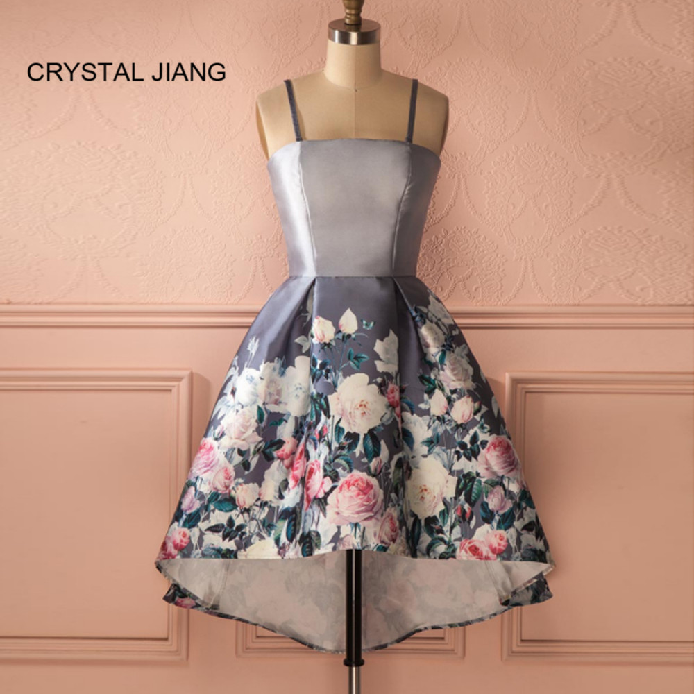 CRYSTAL JIANG New Fashion 2019 Spaghetti Straps A Line Custom made Front Short Long Back Floral Printed   Cocktail     Dresses