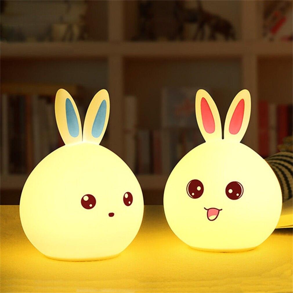 ICOCO New 3 LED USB Rechargable Silicone Cartoon Colorful Rabbit/Bear Control Version Lamp Night Light Bedroom Decoration