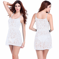 Most Popular 2016 Loose Style Adjustable Spaghetti Strap Large Women Plus Size White Lace Dress S