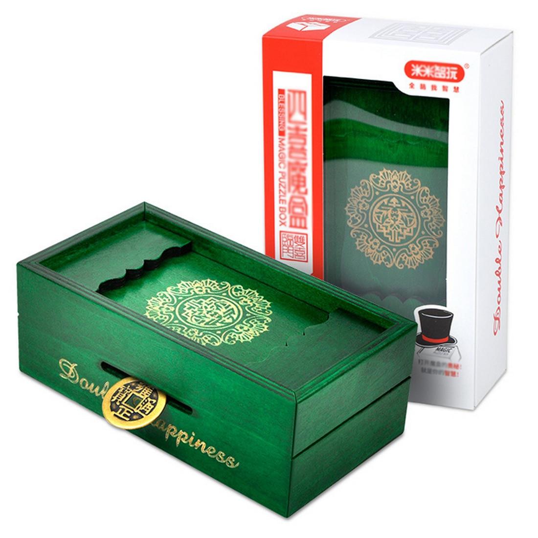Wooden Puzzle Box Secret Trick Intelligence Compartment Magic Money Gift Brain Teaser Logic Educational Toy