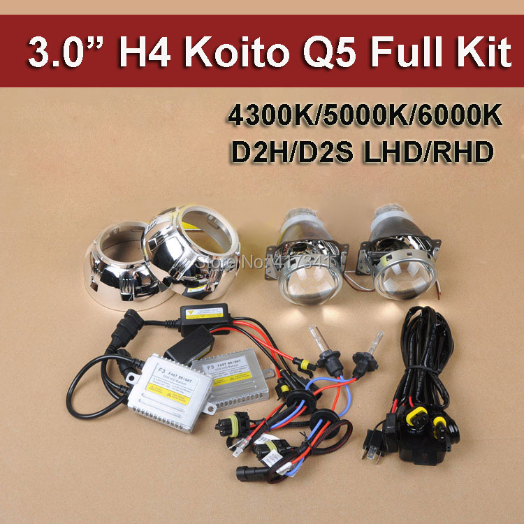 Car Headlight H4 Koito Q5 Hid Bi Xenon Projector Lens Kits 35W D2H HID Xenon Bulb HID Ballast Wire Harness Projector Shroud акустические кабели atlas hyper bi wire 2 to 4 5 0m transpose z plug gold
