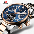 Classic Tourbillon Wrap Mens Watches Top Brand Luxury CARNIVAL Automatic Watch Golden Case Calendar Male Clock Mechanical Watch