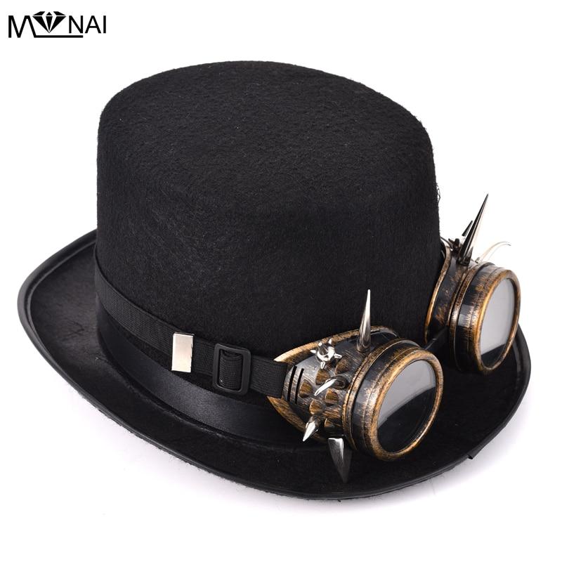 Retro Rivet Goggles Top Hat Punk Steampunk Lolita Cosplay Hat Spike Fedoras Hat Vintage