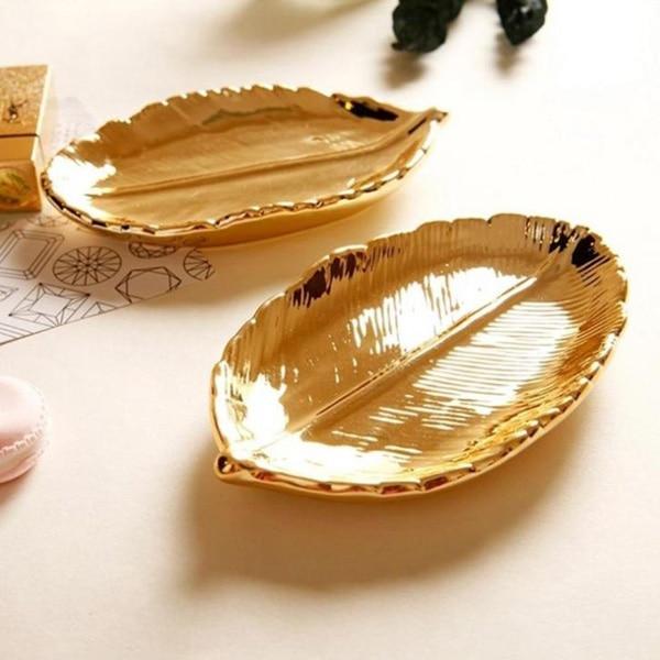 Fine Trendy Jewelry Plate Storage Tray Ceramic Key Plate Electroplating Gold Creative Decorative Ornaments