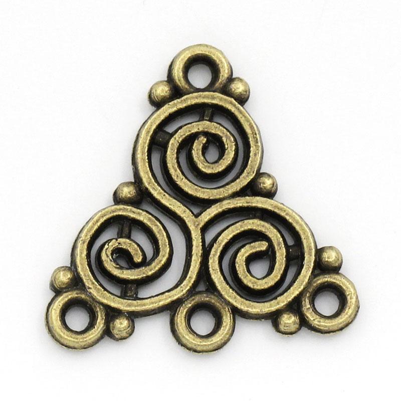 DoreenBeads Zinc metal alloy Connectors Findings Knot Antique Bronze Flower Hollow Pattern 20mm(6/8