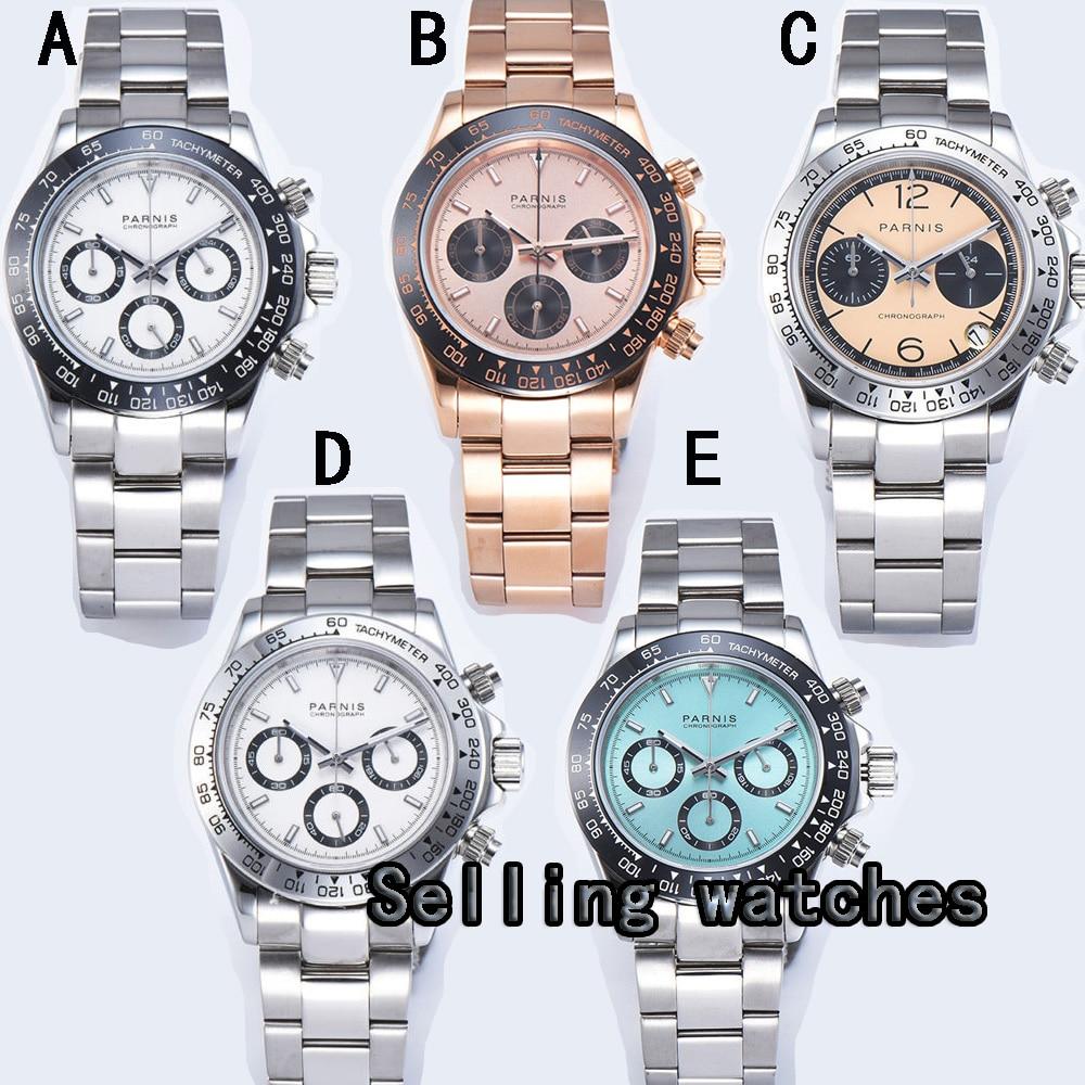 39mm PARNIS cadran bleu saphir cermaic lunette chronographe complet montre à quartz pour hommes