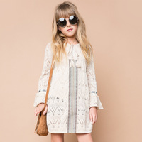 BOHO Girls Knit Ruffles Dress Princess Elegant Flare Sleeve Dress Hollow Out Tassel Design Children Clothing