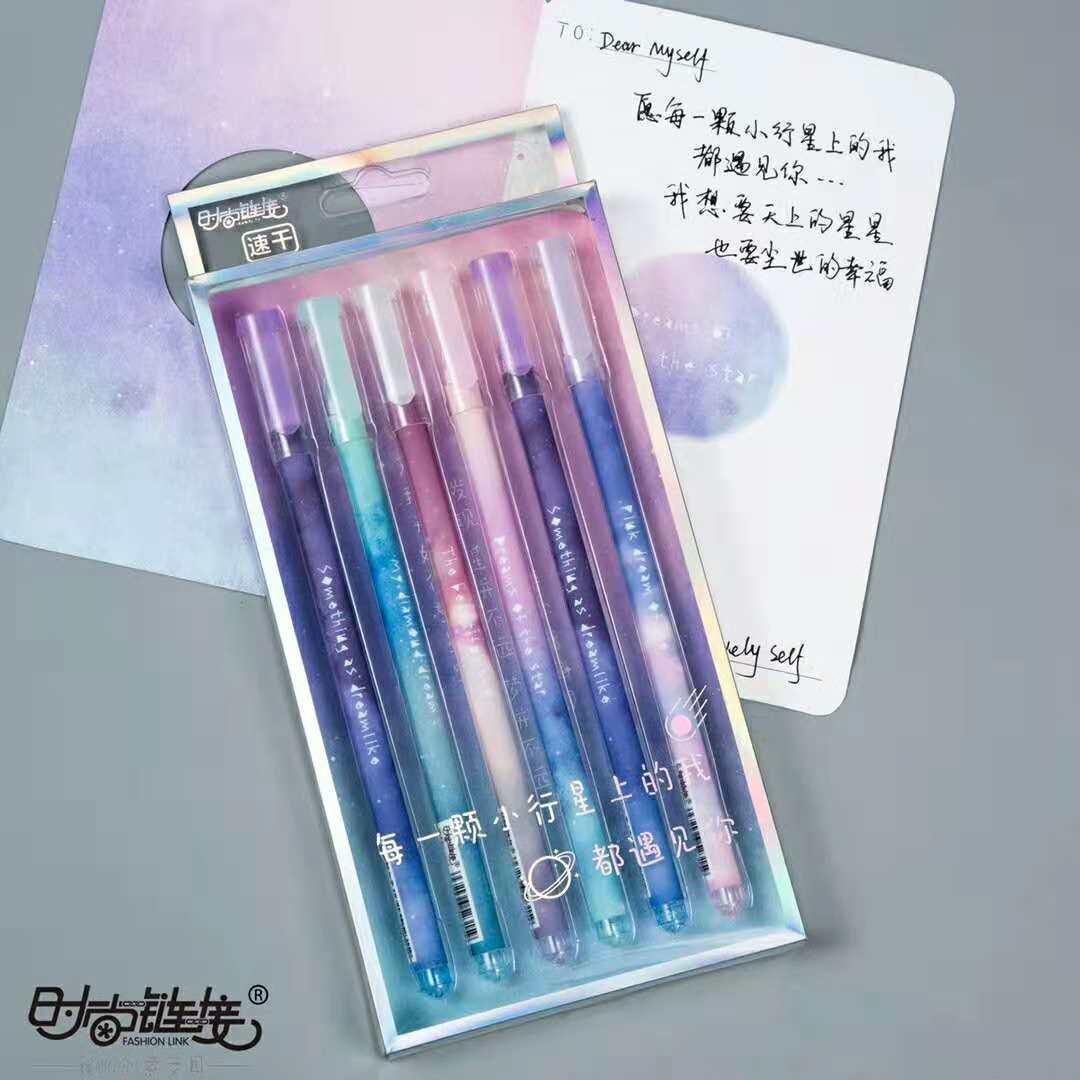 6pcs Gel Pens Starry Sky Star Kawaii Gift Black Gel-ink Student Pen Pen For Writing Cute Stationery Office School Supplies 0.5mm