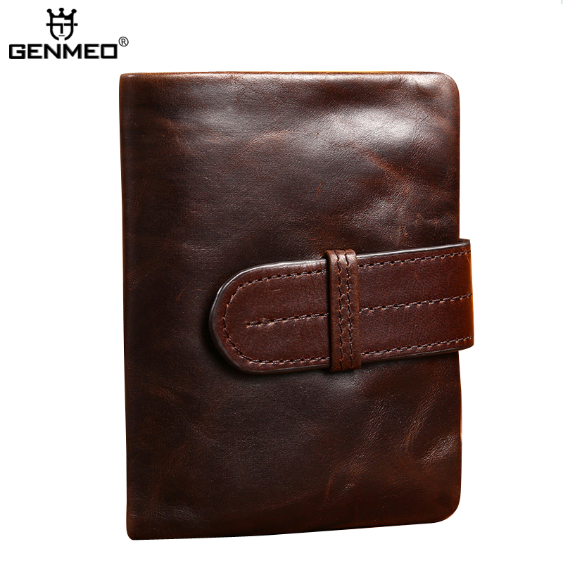 MAIFEINI New Arrival Vintage Genuine Leather Short Wallets Men Cow Leather Retro Coin Purse Male Card Holder Clutch Money Bag цена и фото