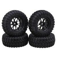 Mxfans 1 9 Inch Black 96mm OD Square Pattern Rubber Tyres Plastic Y Shape Wheel Rims