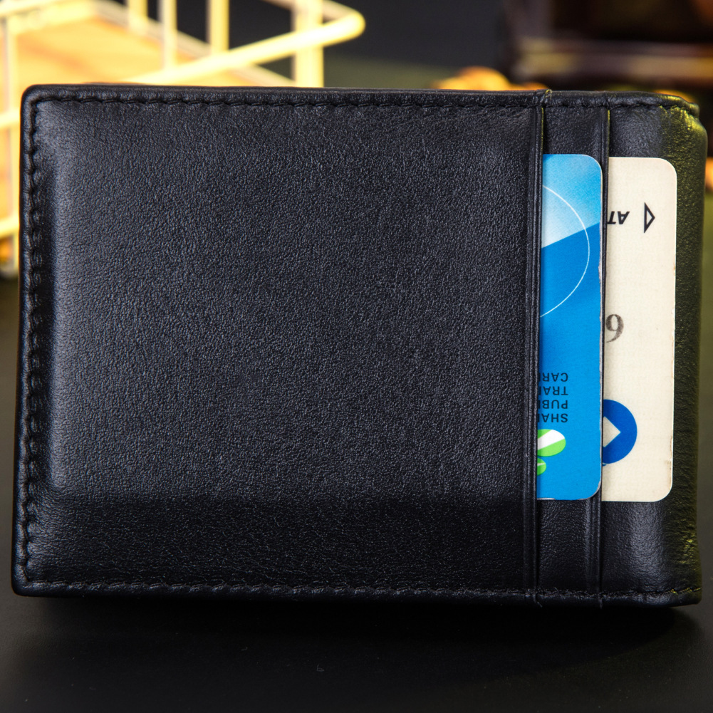 Купить с кэшбэком Thin Billfold Wallet Men Money Clips Real Leather 2 Folded Open Clamp for Money Holder Credit Card Case Cash Clip  & women clips