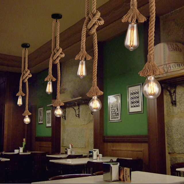Retro Lamp E27 Hemp Rope Pendant Light Vintage Loft Creative lighting American Style lights Dining Living Room Restaurant Decor 5