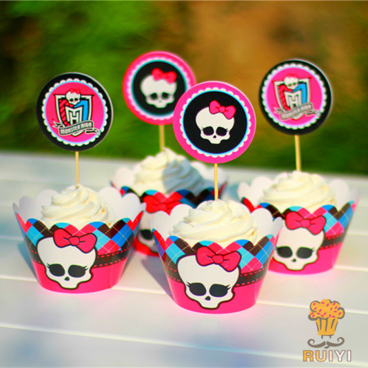 24pcs Kids birthday Party Decoration Cupcake Wrappers Favors <font><b>Monster</b></font> <font><b>High</b></font> <font><b>Cup</b></font> Cake Toppers Picks AW-0021