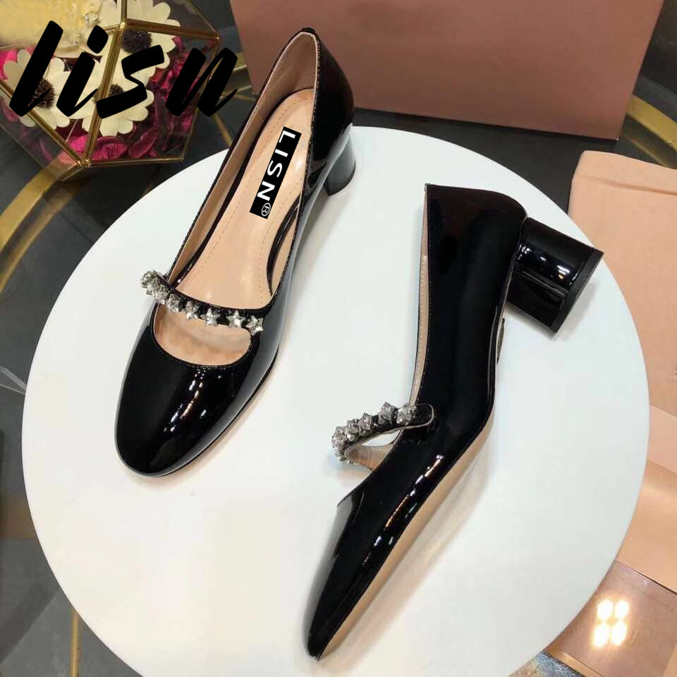 LISN New Quality Genuine Leather Star Crystal Women Summer Spring Pumps Round Toe Think Heel Mary Janes Sandals Shoes