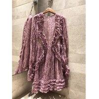 floral print silk crepon mini dress High end women's 2019 summer elegant holiday dress Silk lining