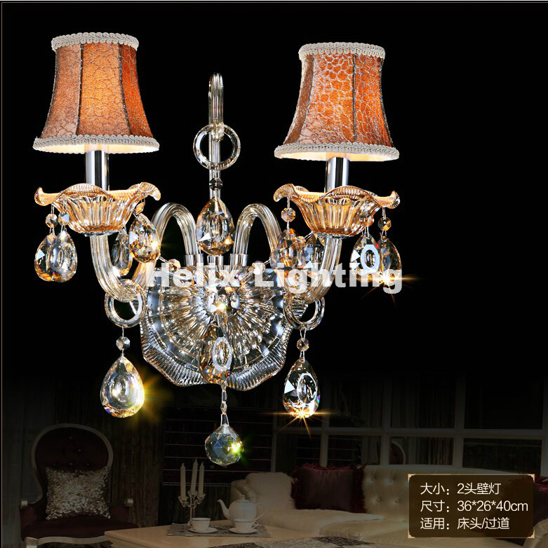 New Arrival K9 Crystal wall lamp Champagne Glass wall sconces light Crystal wall bracket Lighting 1 light and 2 lights Free Ship new arrival modern crystal wall lamp jade glass wall lamp with k9 crystal wall sconce lighting 1 light and 2 light free shipping