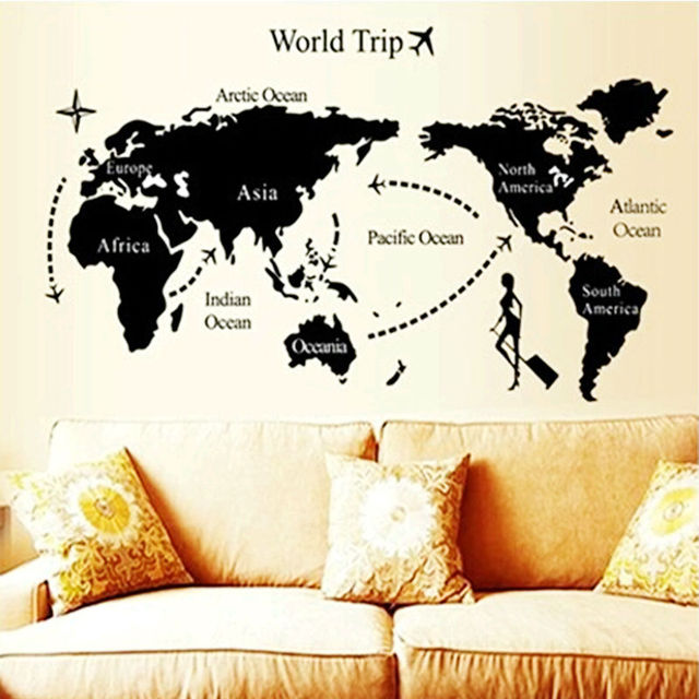 world trip global map wall stickers office living room decor 9134. diy adesivo de paredes home decals animal mual art poster 2.5