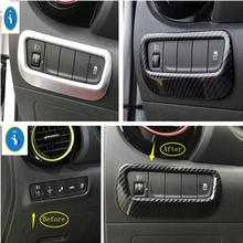 Yimaautotrims Auto Accessory Fit For Hyundai Kona 2018 2019 ABS 2 Color Head Lights Lamp Switch Button Frame Cover Trim 1 Piece only fit for left hand drive for hyundai kona encino 2017 2018 window lift switch cover accessory trim 4pcs abs matte