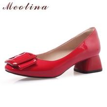 Купить с кэшбэком Meotina High Heels Shoes Women Spring Patent Leather Thick Heels Shoes Buckle Square Toe Pumps Ladies New Red Big Size 33-43 10