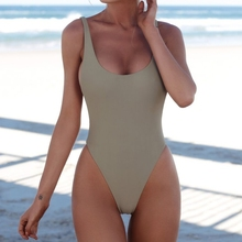 Women Sexy Bikini Push Up One-piece Backless Solid Color Retro Triangle Swimsuit Swimwear