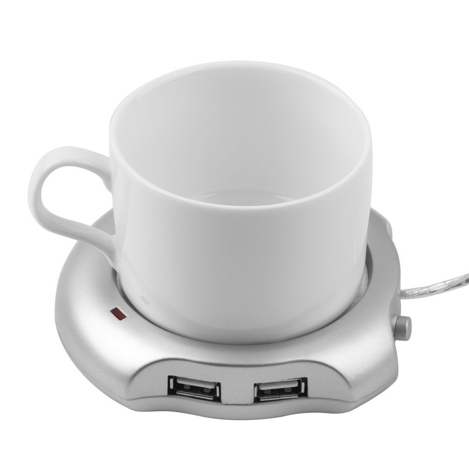 Silver 4 Port USB Hub Tea Coffee Cup Mug Warmer 50 Degree Max Liquid Temperature Electric Warmer For PC Heater Pad