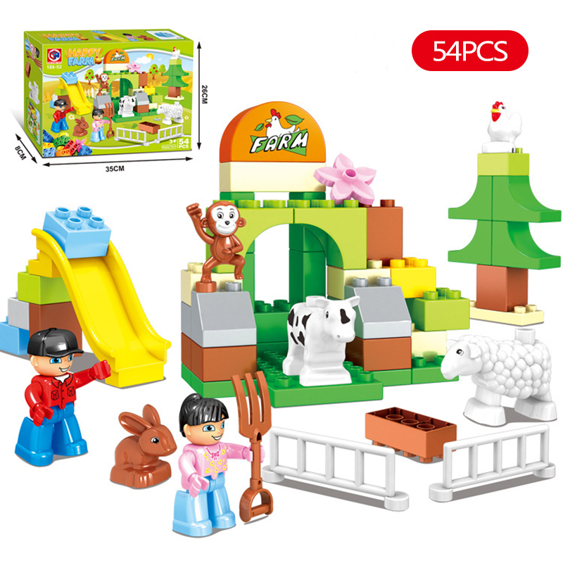 54 шт. Счастливые Животные фермы строительных блоков игрушки совместим с legoeinglys duploe Животные комплекты игрушка кирпичи для детей