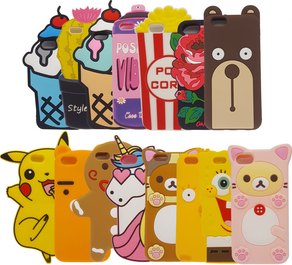 Color Ice Cream Popcorn Soft Silicone Iphone 7 7Plus Rubber Back Cover Cute Cartoon Pikachu Shell For Iphone X 8 8 Plus