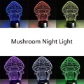 Fashion Creative Colorful Light Mushroom 3D LED Lamp Night Lamp Bedside Lamp With Remote Controller Birthday Gift