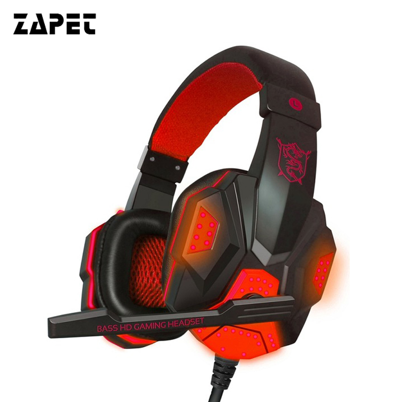 ZAPET LED Light Gaming Headphone Wired Headsets Over-ear Bass Stereo Volume Control Gamer Headphone with Mic for PC Computer