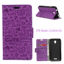 Hot Selling For ZTE Blade L110/A110 Case Cartoon Wallet Style Phone Cover Case with Card Holder For ZTE Blade A110 L110 Fundas
