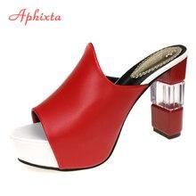 Aphixta Papucsok Női Nyári Cipő Cipő Transparent Super High Heel Slipper Red Nagy méret 42 Beach Chausson Femme Chanclas