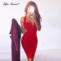 UpAvonu 2018 Best seller women halter sexy deep v neck off shoulder red dress bodycon bandage dress dropship wholesale MD483