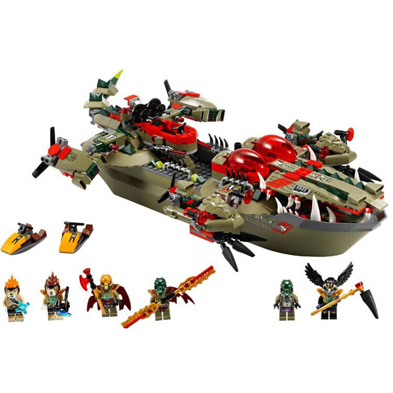 Chimaed Minifigures Block Crocodile command ship Building Bricks Cragger Compatible font b legoed b font Toy