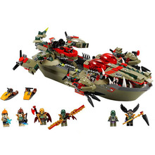Chimaed Minifigures Block Crocodile command ship Building Bricks Cragger Compatible legoed Toy For Children