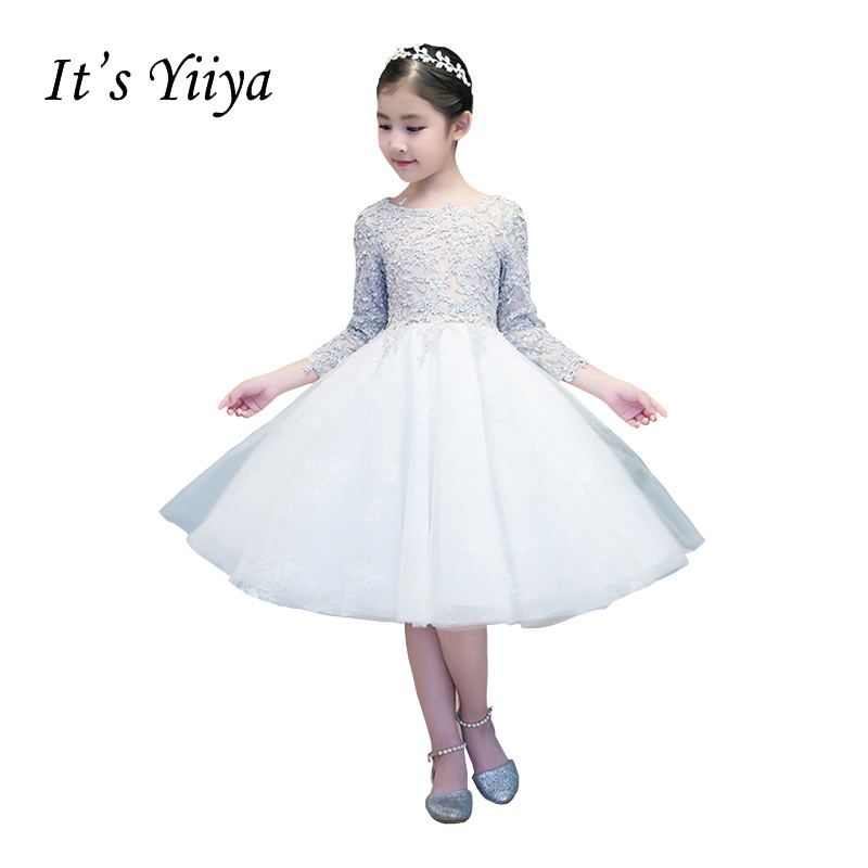 It's YiiYa New O-neck Illusion Zipper Lace   Flowers   Embroidery Knee-length Ball Gown Princess   Flower     Girls     Dress   Communion TS233