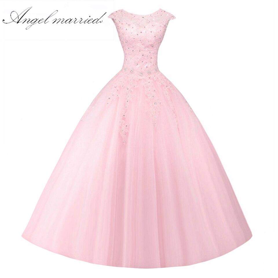 Ange marié rose Quinceanera robes De bal sans manches à lacets doux 16 robe Vestido De 15 Anos De Debutante