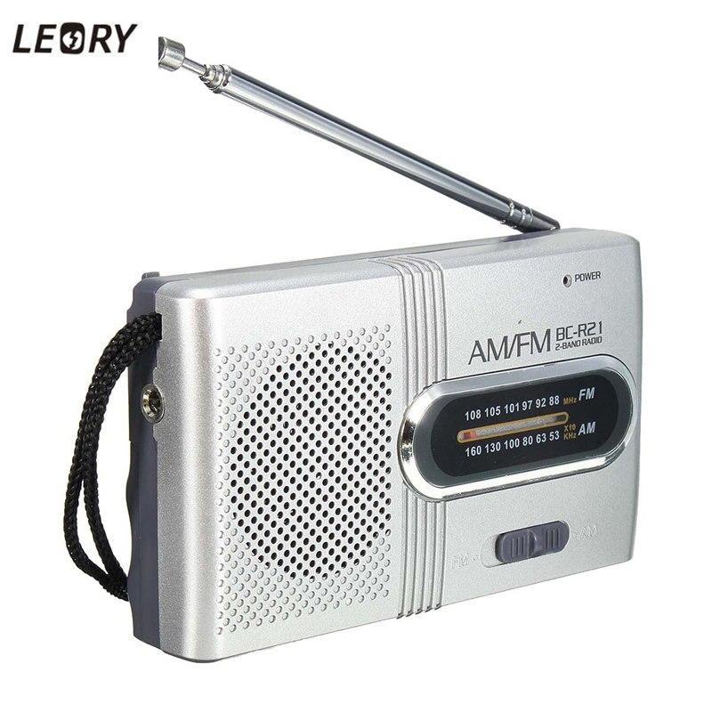 LEORY Best Quality BC-R21 Mini Radio Portable AM FM Telescopic Antenna Radio World Receiver Speaker DC 3V old version degen de1103 1 0 ssb pll fm stereo sw mw lw dual conversion digital world band radio receiver de 1103 free shipping