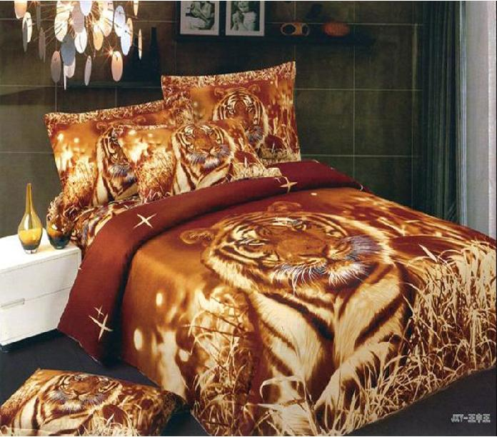 Hot brown tigers animal 3d printed bedding full queen size comforter sets egyptian cotton 600tc for Full size bedroom sets for adults