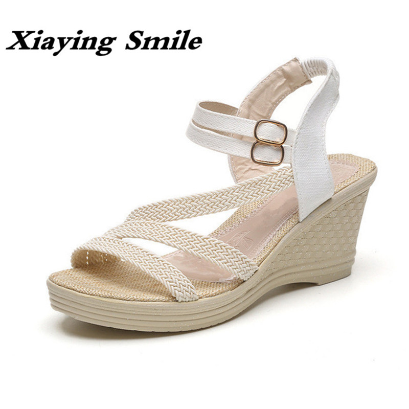 Xiaying Smile Woman Sandals Shoes Women Pumps Summer Casual Platform Wedges Heels Sennit Buckle Strap Rubber Sole Women Shoes 2017 suede gladiator sandals platform wedges summer creepers casual buckle shoes woman sexy fashion beige high heels k13w