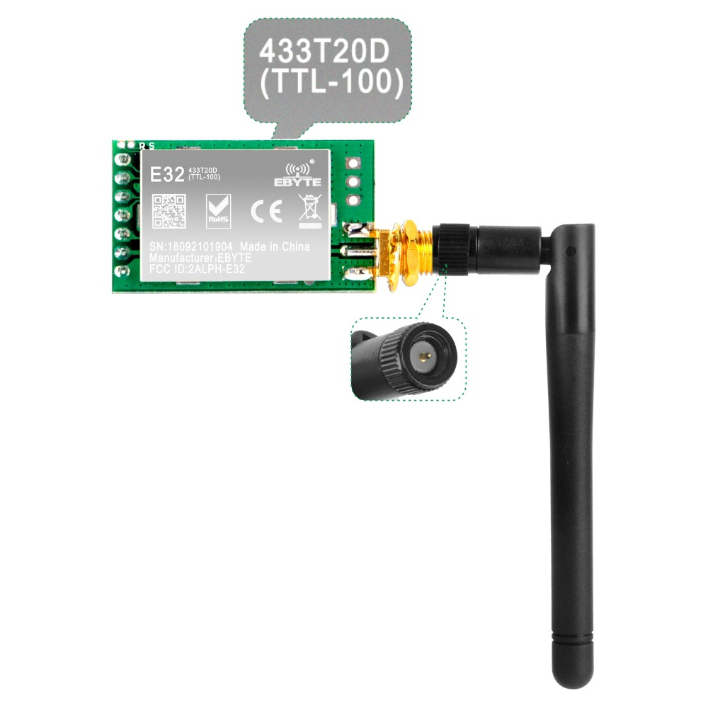 SX1278/SX1276 LoRa Radio Wireless 433/868/915Mhz UART Serial Module LoRaWAN Transmitter Receiver + 3dBi SMA Antenna For Arduino